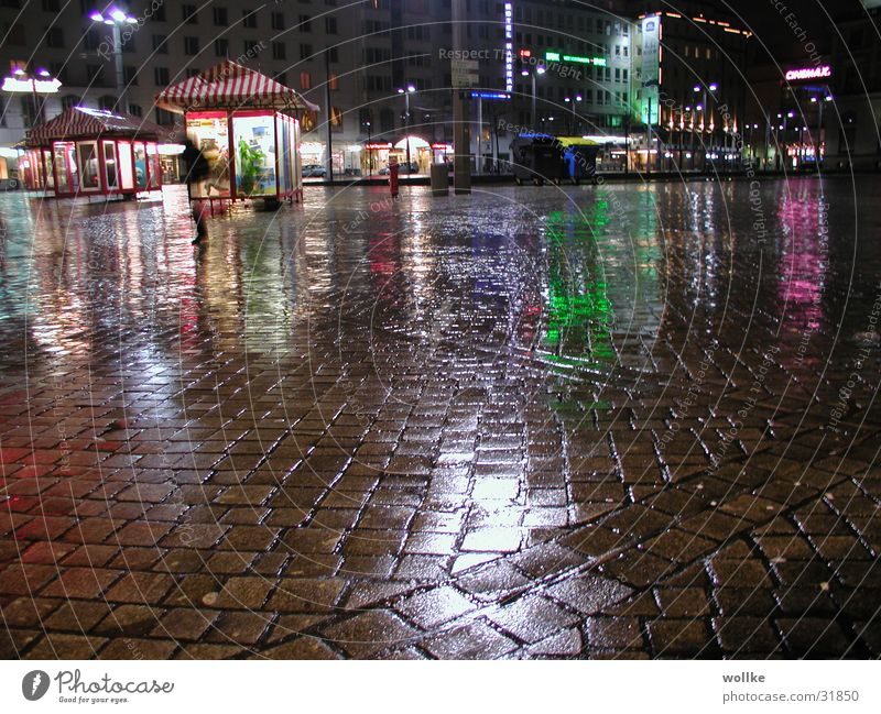 nocturnal rain reflections Night Neon light Places Deserted Flee Club Rain Reflection