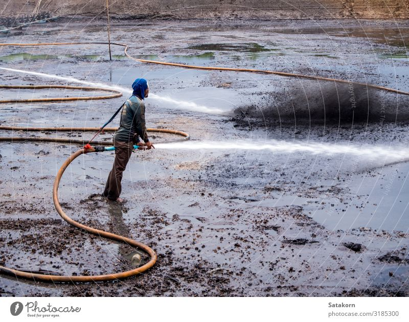 Cleaning the mud at the bottom of pond Work and employment Human being Man Adults Body 1 30 - 45 years Nature Landscape Pond Dirty Wet Natural Black Mud