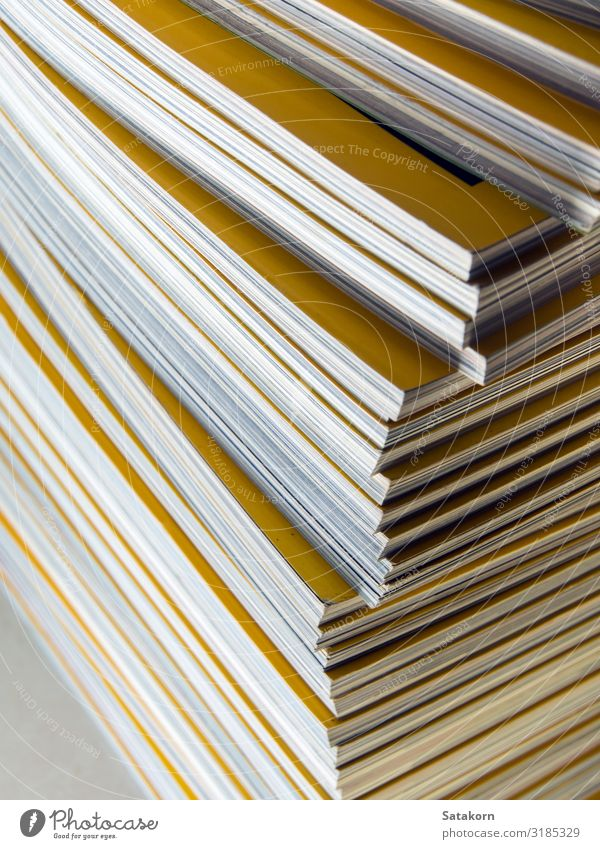 Stack of yellow monthly magazine Leisure and hobbies Reading Newspaper Magazine Book Library Paper Collection Yellow White Accumulation background education