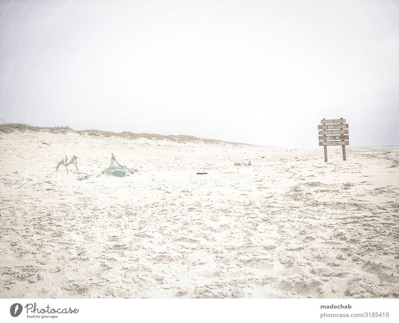 flotsam and jetsam Vacation & Travel Environment Nature Landscape Sand Bad weather Beach Signs and labeling Signage Warning sign Romance Calm Longing Wanderlust
