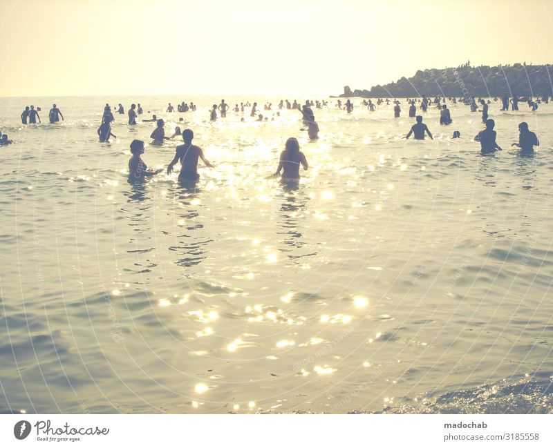 Lifestyle - crowd of people on a summer holiday by the sea Vacation & Travel Tourism Freedom Summer vacation Sunbathing Beach Ocean Human being Masculine