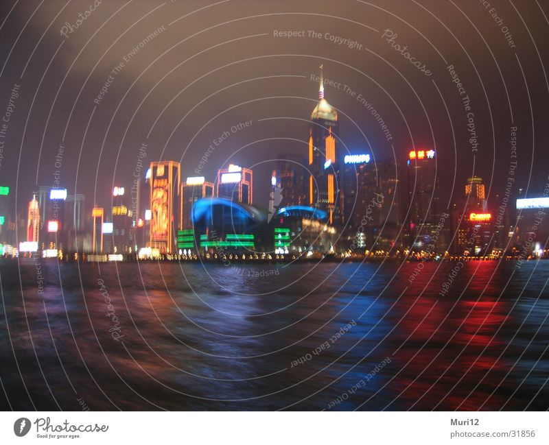 Hong Kong at night Night Success Skyline Harbour nightshot function Blur