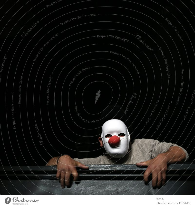 lostplacer Masculine Man Adults 1 Human being Artist Stage play Actor Mask Clown Sweater Wood Observe To hold on Looking Dark Determination Watchfulness