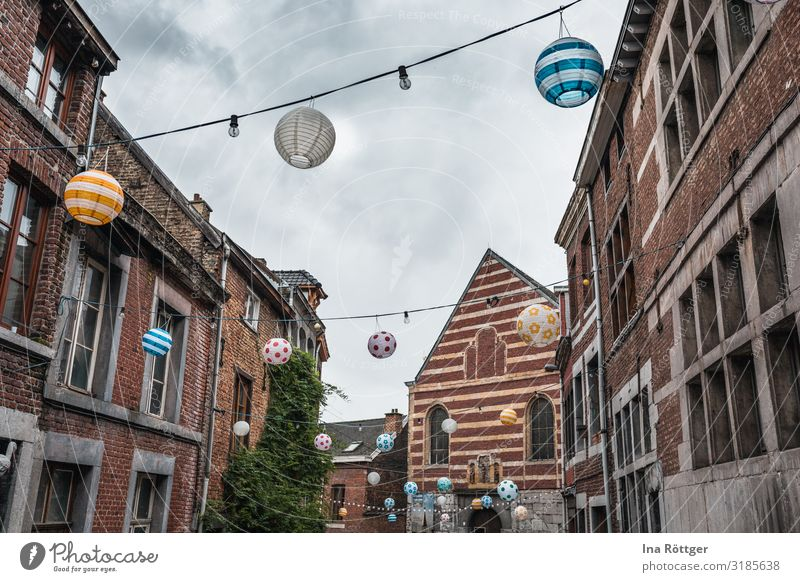 streets full of lanterns Going out Sky Clouds Town Outskirts Old town House (Residential Structure) Church Manmade structures Building Architecture Facade
