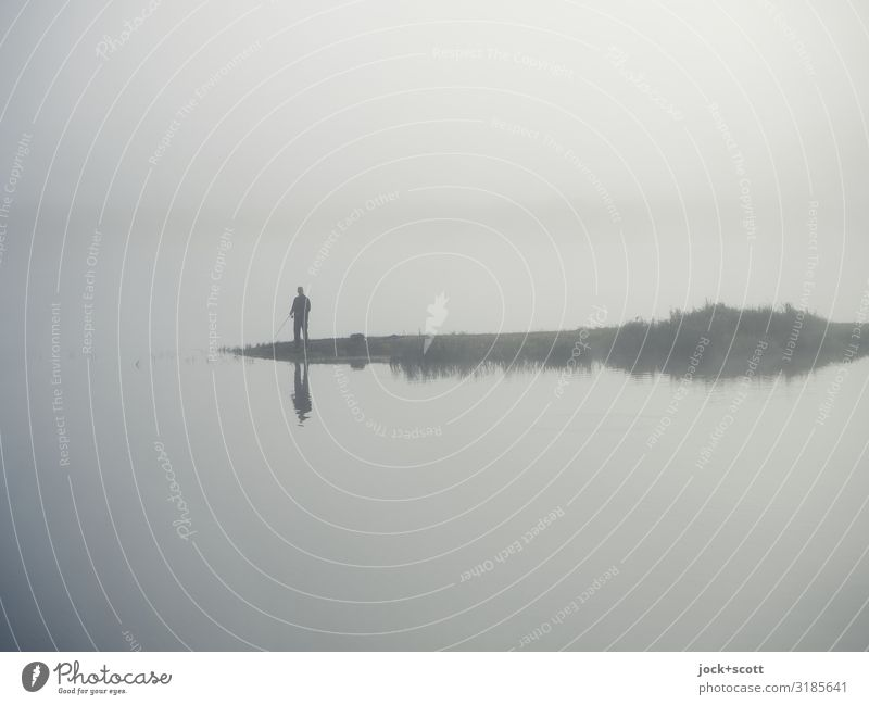 View in the morning: blurred Fishing (Angle) 1 Human being Climate change Fog River bank Brandenburg Poland Stand Wait Authentic Simple natural Emotions