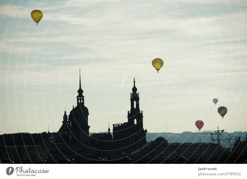 High flyer Dresden City trip Air Beautiful weather Downtown Church Aviation Hot Air Balloon Flying Illuminate Exceptional Free Infinity Above Town Warmth Moody