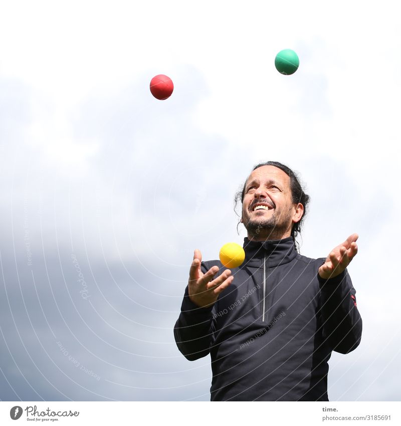 Systemic approach Fitness Sports Training Juggle Juggler Masculine Man Adults 1 Human being Sky Clouds Sweater Brunette Long-haired Braids Beard Ball Movement