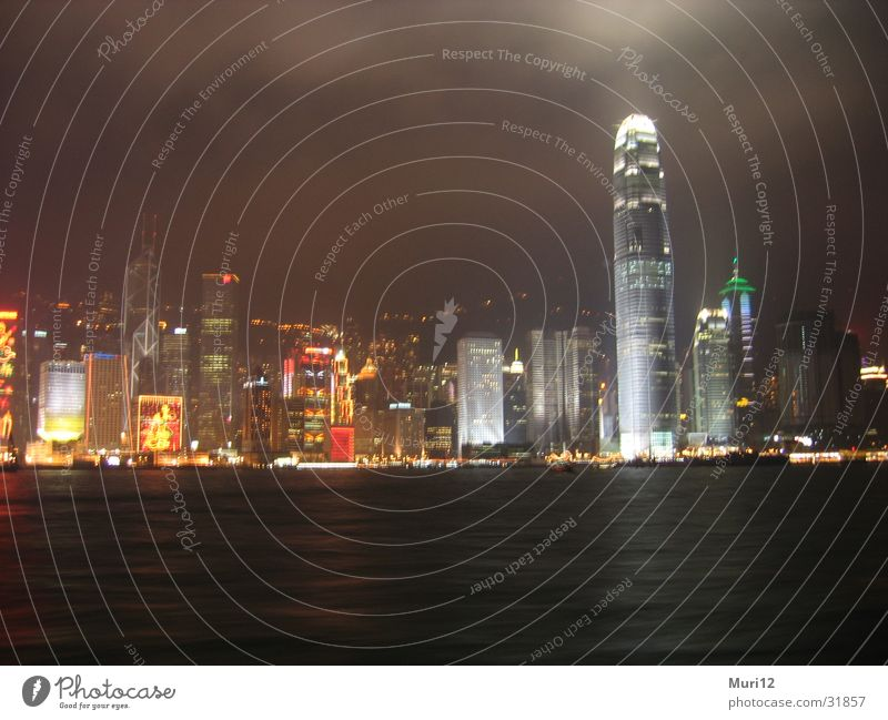 Hong Kong at night Night Success Harbour Skyline nihghtshot Water