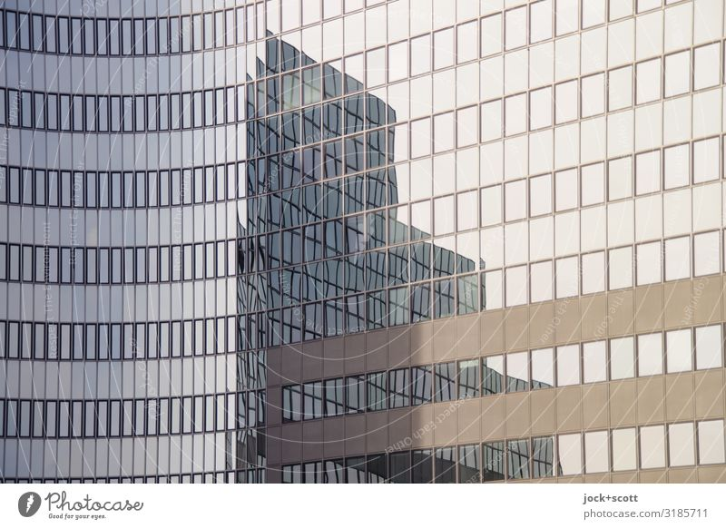 distorted structure Window Architecture Line Many Long Office building Glas facade Airport Berlin-Tempelhof