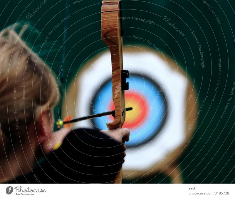 Blur the target. Playing Hunting Archer Bow Archery Target Sports Sportsperson Sporting event Success Sporting Complex Feminine Young woman Youth (Young adults)