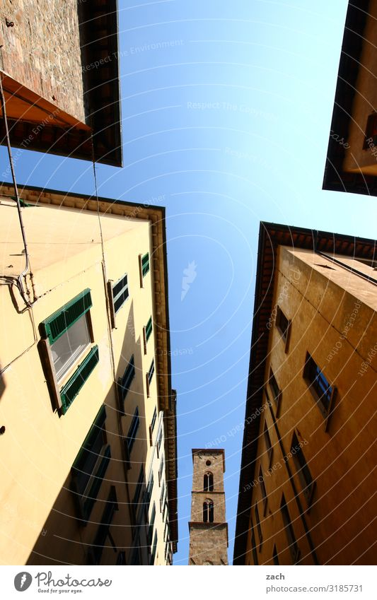 Hidden Sky Beautiful weather Italy Tuscany Village Small Town Downtown Old town House (Residential Structure) Church Dome Palace Tower Wall (barrier)