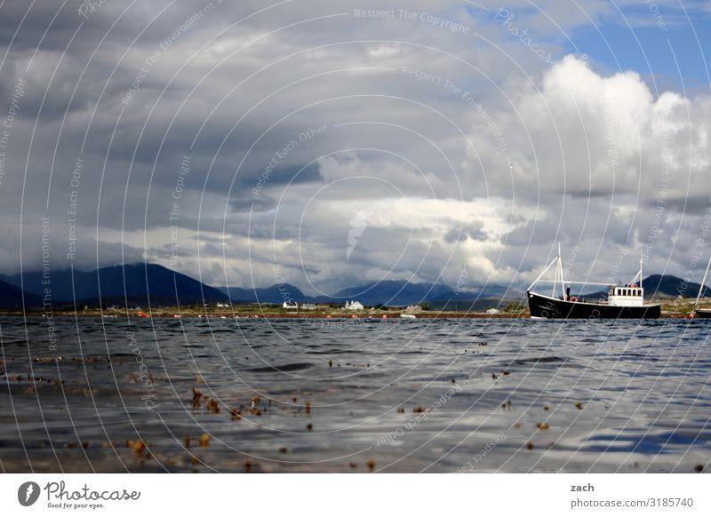 Sky Water White Landscape Clouds Mountain Coast Lake Gray Watercraft Weather Waves Hill Navigation Ireland Fishing boat
