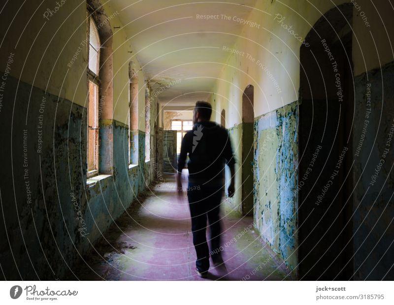 corridor Man Adults 1 Human being lost places Brandenburg Building Sanitarium Hallway Going Authentic Dirty Historic Long Emotions Bravery Secrecy Serene