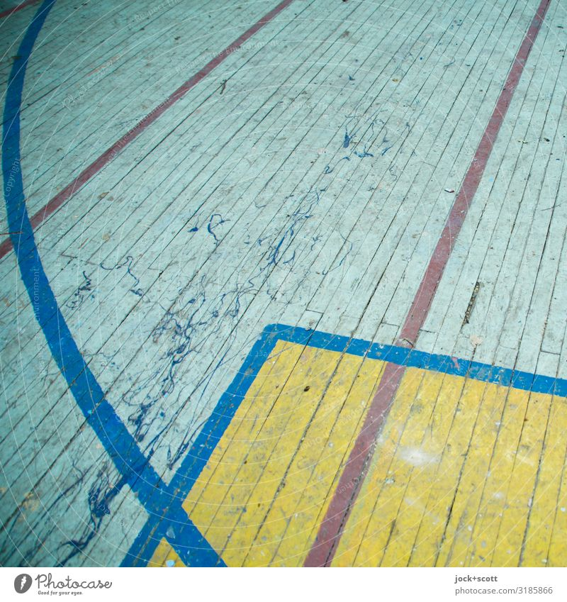 Lost online lost places Gymnasium Wooden floor Line Structures and shapes Boundary Old Dirty Firm Retro Under Orderliness Design Arrangement Past Rule