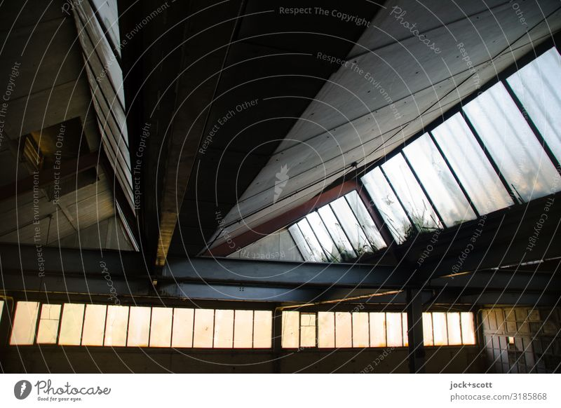 Reverberation through light in hall lost places Ruin Hall Roof Glazed facade Symmetry Past GDR Ravages of time Shaft of light Derelict Structures and shapes