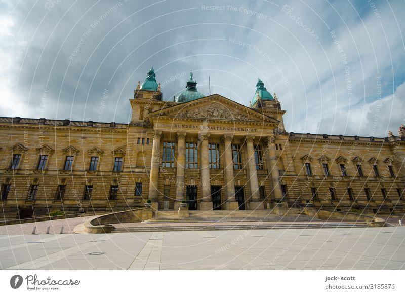 Federal Administrative Court of Germany Town Clouds Winter Facade Authentic Places Historic Tourist Attraction City trip Downtown Leipzig Climate change