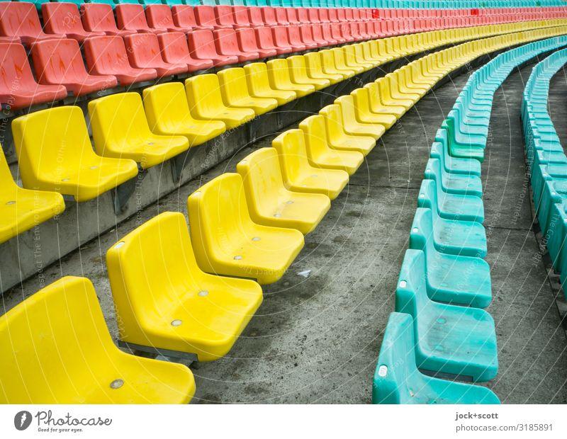 color queueing Design Stands Sporting Complex Stadium Seat Prenzlauer Berg Row of seats Concrete floor Plastic Stripe Authentic Exceptional Free Uniqueness Long