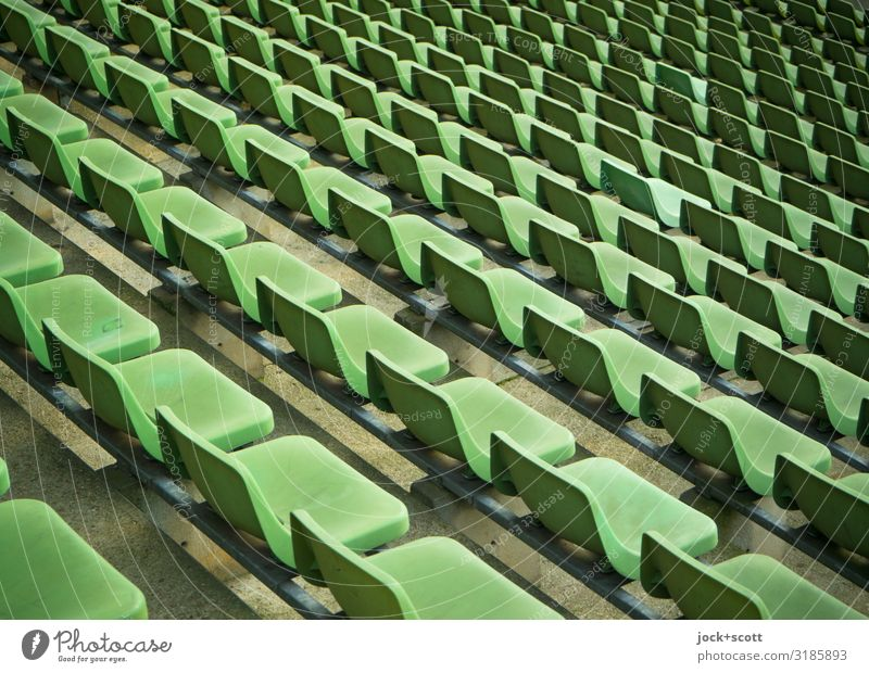 same green Style Stands Sporting Complex Stadium Seat Prenzlauer Berg Collection Row of seats Plastic Authentic Free Long Many Green Moody Orderliness Equal