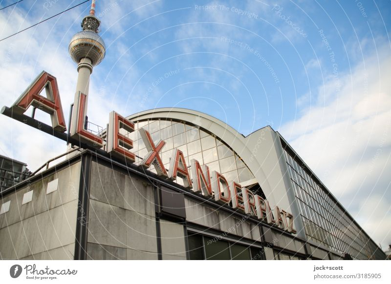 Alexanderplatz, very big station Sky Clouds Capital city Downtown Train station Architecture Tourist Attraction Landmark Berlin TV Tower Word Capital letter