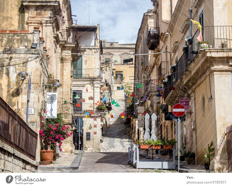 Noto, Sicily Sky Clouds Beautiful weather Small Town Old town Deserted House (Residential Structure) Balcony Street Road sign Authentic Italy Alley Paper chain