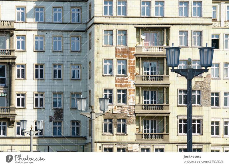 Facade Karl-Marx-Allee Classicism Friedrichshain Building Balcony Tourist Attraction Street lighting Old Authentic Historic Decline Past Transience