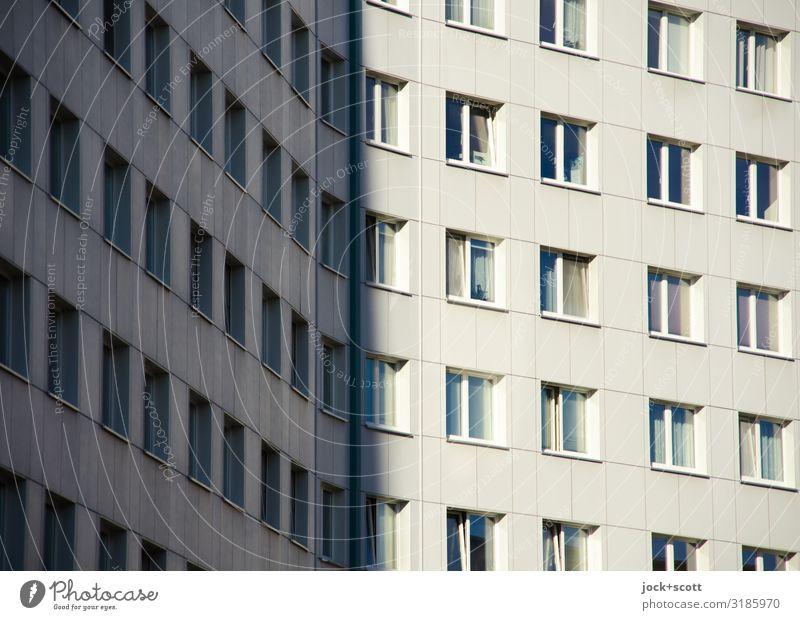 Concrete slab shadow Window Facade Beautiful weather Sharp-edged Prefab construction Lichtenberg