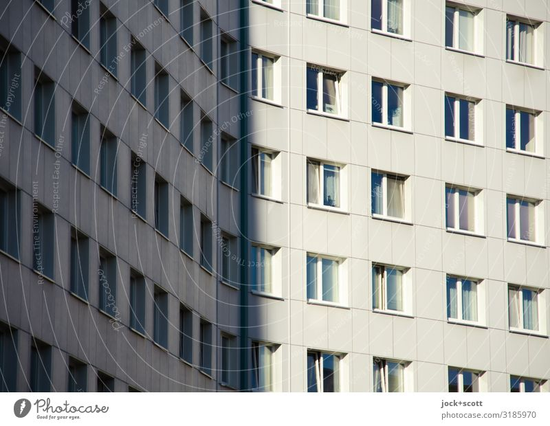 Plates in light and shadow Beautiful weather Lichtenberg Prefab construction built Tower block Facade Window Authentic Sharp-edged Modern Gloomy Many Secrecy