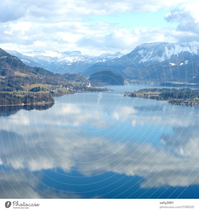 Winter in the Salzkammergut... Landscape Clouds Alps Snowcapped peak Lakeside Contentment Relaxation Stagnating Tourism Austria Reflection Calm Colour photo