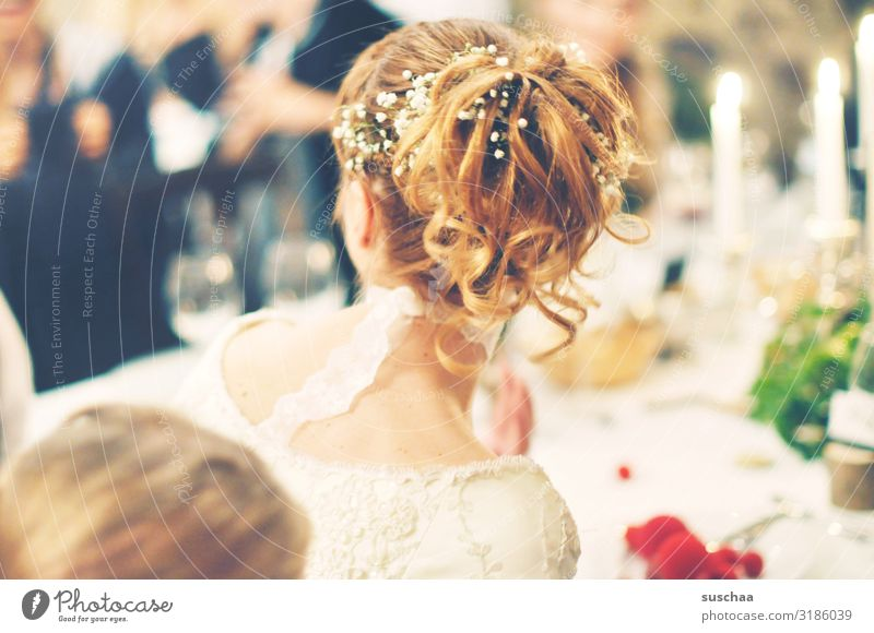 brewing hairstyle Woman Bride Wedding Back of the head Hair and hairstyles Pinned up hairstyle Festive Feasts & Celebrations Table Set meal Together feast