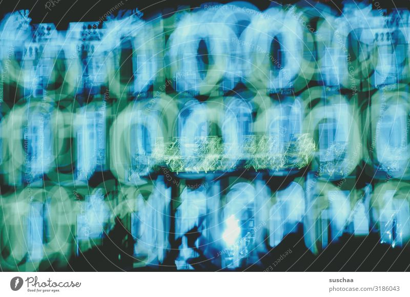 Zero & one blur. Zeros & ones 0 1 Digits and numbers Digital on/off Light light and dark digital age Abstract Colour Blue-green Blur