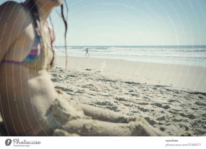 beach photo with child at the edge Child girl Beach Sand Bikini wide Ocean Water Vacation & Travel Summer Coast Relaxation Summer vacation wet hair