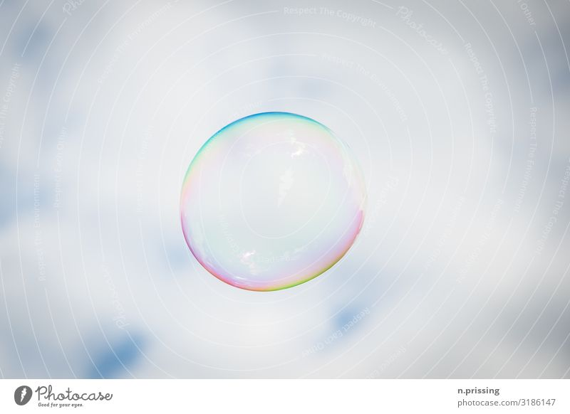flying bubble Toys Soap bubble Tall Beautiful Multicoloured Joy Happy Flying Freedom Colour photo Exterior shot Copy Space left Copy Space right Copy Space top