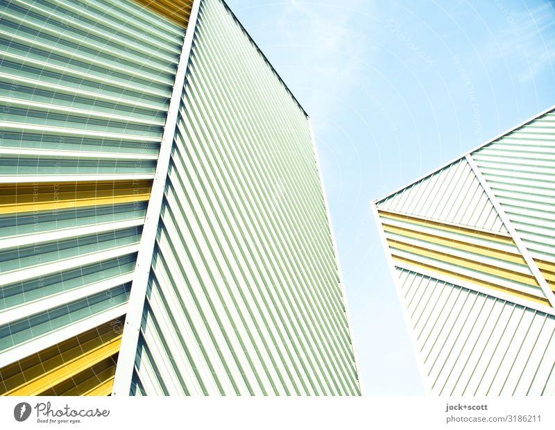 diagonal meet vertical Sky Facade Tall Sharp-edged Fire wall Treptow