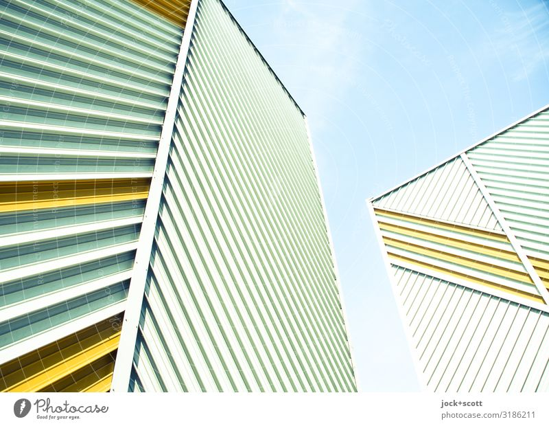 Diagonal meets Vertical Architecture GDR Sky Treptow Prefab construction Fire wall Cladding Line Disk Exceptional Sharp-edged Tall Uniqueness Many Protection