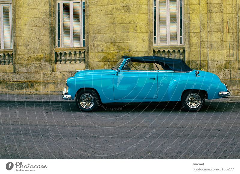 old blue car, havana -cuba Lifestyle Vacation & Travel Tourism Trip Island Rain Transport Street Vehicle Car Taxi Vintage car Old Driving To enjoy Authentic