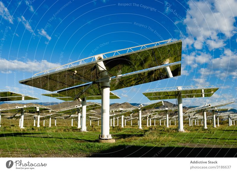 Solar panels on power station Solar Power Panels Station Sky Beautiful weather Reflection Glittering Sunbeam Day Energy Electricity Technology Weather