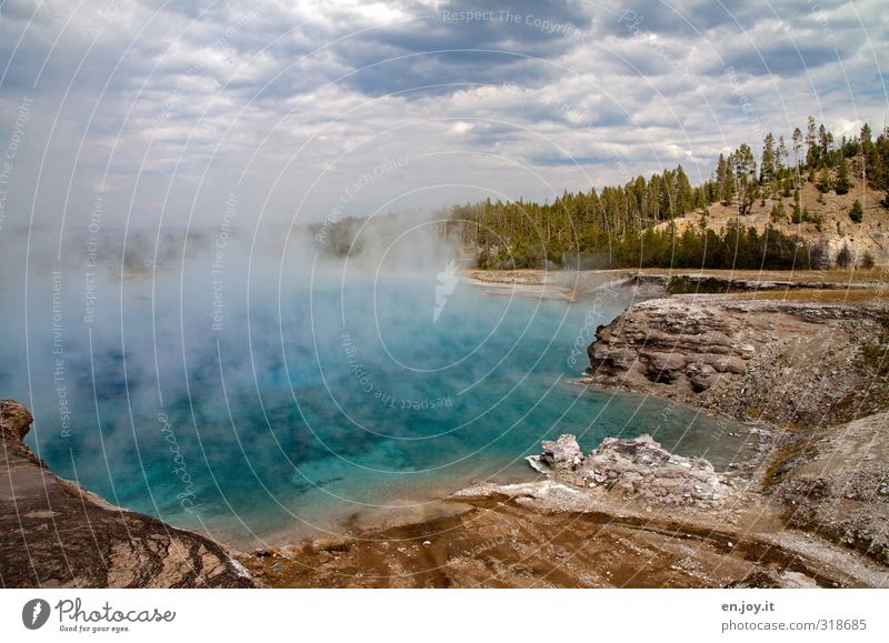 Excelsior Geyser Crater Vacation & Travel Tourism Adventure Nature Landscape Elements Water Storm clouds Tree Hill Hot springs Exceptional Threat Fantastic
