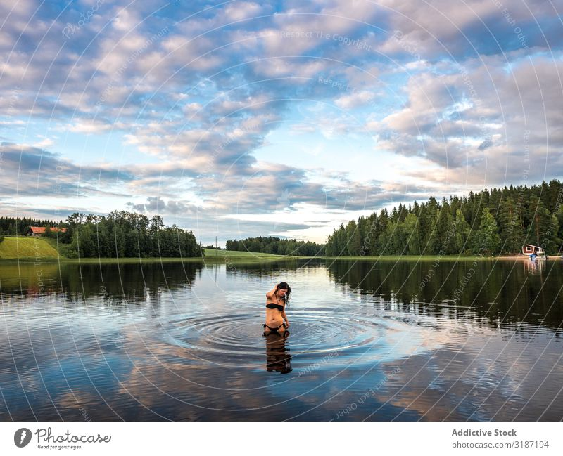 Woman in water in beautiful landscape Water Happy Vacation & Travel Leisure and hobbies Tourism Lifestyle