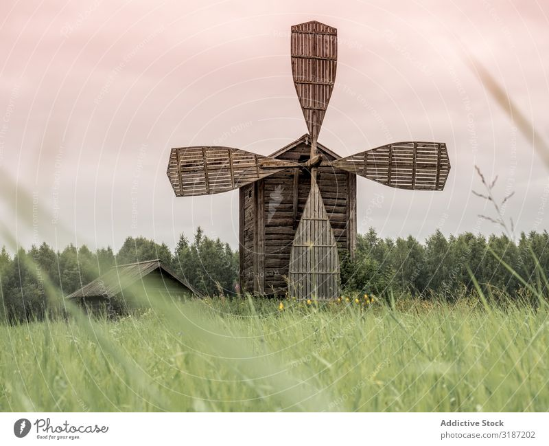 Engaging old wooden windmill in Finland Windmill Wood Old Architecture Rural Landscape Landmark Farm Europe Vacation & Travel Building Tradition Agriculture