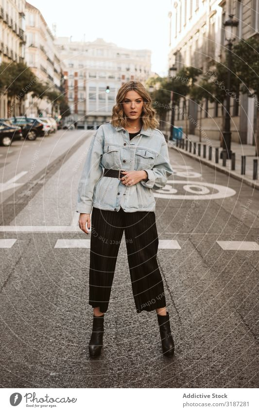 Stylish woman in middle of city road Woman Style Street City Stand Youth (Young adults) Model outfit Town Fashion Hip & trendy Easygoing Asphalt To enjoy