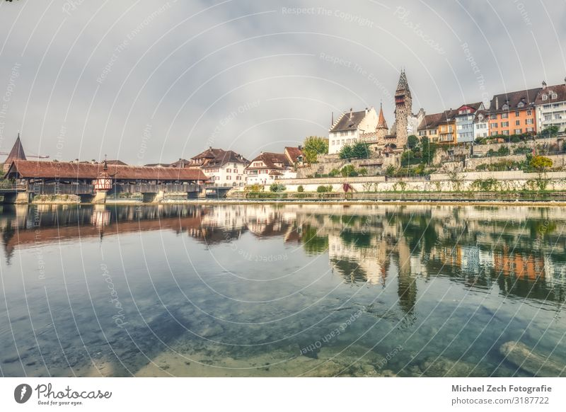 HDR of the old city of bremgarten with old wooden bridge Vacation & Travel Sightseeing Summer House (Residential Structure) Clock Plant Sky Clouds Coast