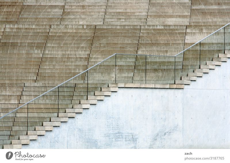 Stairs without everything Berlin Town Capital city Downtown Wall (barrier) Wall (building) Sit Gray Go up Descent Climber Colour photo Subdued colour