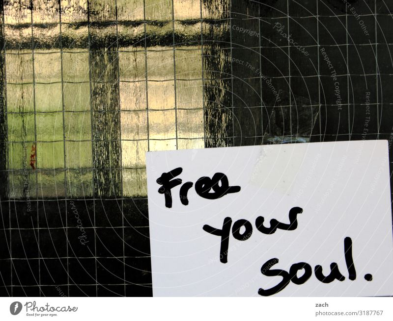 Free your soul. Town Capital city Downtown Facade Window Sign Characters Signs and labeling Happy Contentment Joie de vivre (Vitality) Optimism Brave Trust