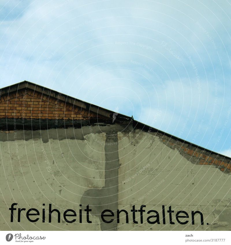 freedom. Sky Berlin Town Capital city Downtown House (Residential Structure) Ruin Wall (barrier) Wall (building) Roof Sign Characters Graffiti Free Blue Gray