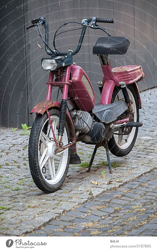 Old moped parked on the sidewalk. Lifestyle Style Design Leisure and hobbies Trip Adventure Far-off places Freedom Craftsperson Transport Means of transport