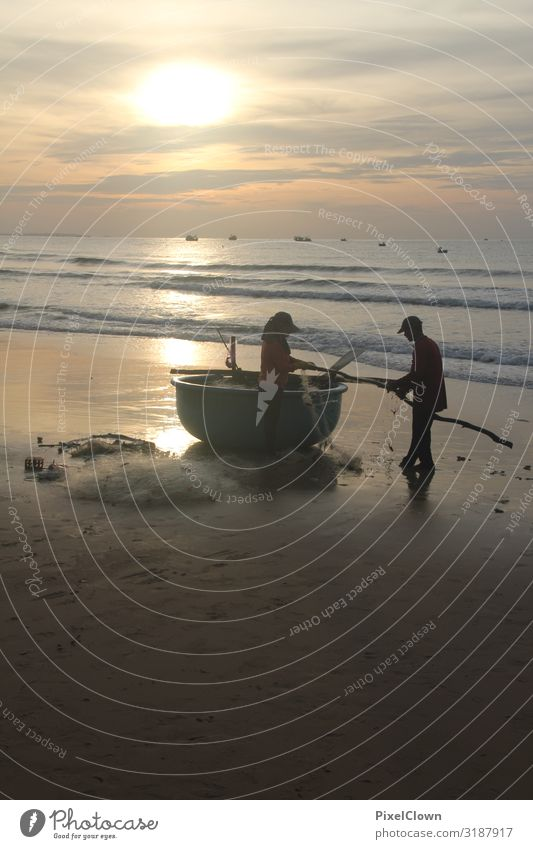 Fishermen in South Vietnam Vacation & Travel Tourism Adventure Far-off places Freedom Sun Beach Ocean Human being Woman Adults Man 2 30 - 45 years Landscape