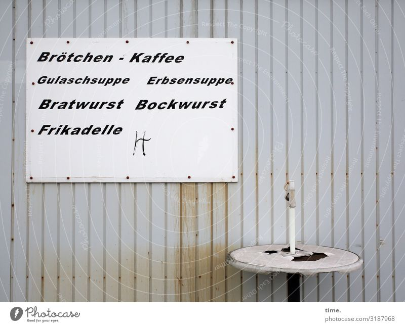 lunch table Food Nutrition Lunch Table Services Gastronomy Snack bar Hut Wall (barrier) Wall (building) Metal Characters Signs and labeling Broken Trashy Gloomy
