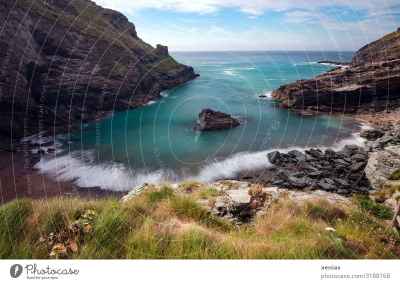 Long Exposure Tintagel beach in summer, Cornwall Vacation & Travel Tourism Beach Ocean Environment Nature Landscape Sky Clouds Summer Autumn Weather