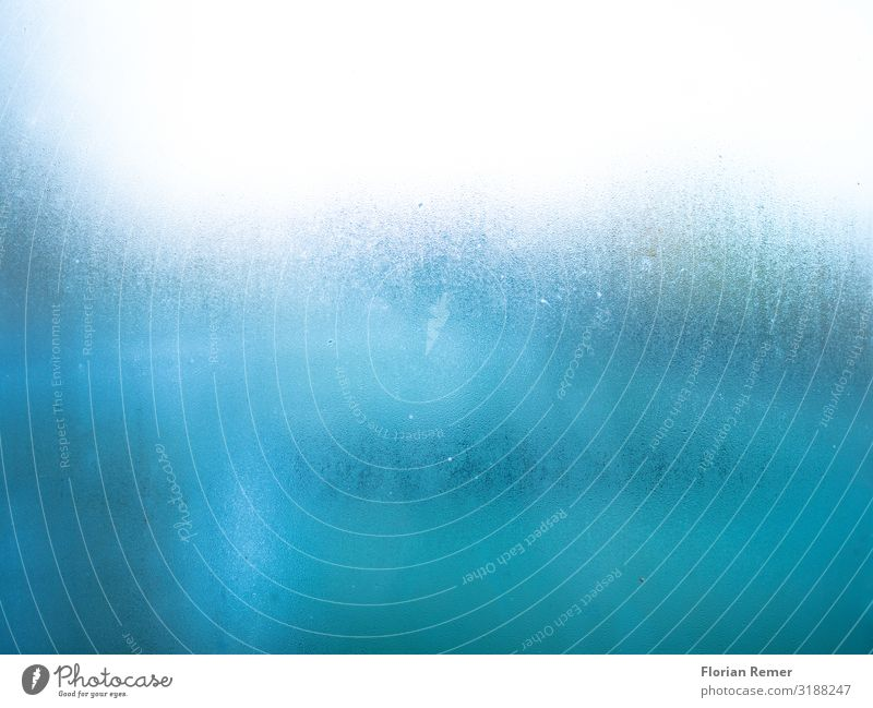Condensation water on disc Pane Window Condense Drops of water Watercolor Fluid Uniqueness Blue White Cold Colour photo Interior shot Detail Experimental