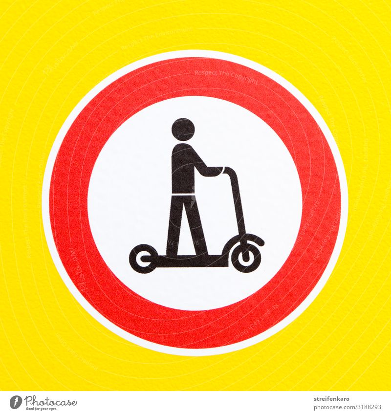 Prohibition sign electric scooter on yellow background Sports Energy industry Human being 1 Transport Traffic infrastructure Passenger traffic Road traffic Sign